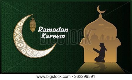 Ramadan Kareem Or Eid Mubarak Islamic Design Background With Classic Pattern Moon And Lantern.eid Mu