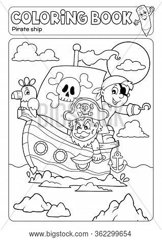 Coloring Book Pirate Boat Theme 2 - Eps10 Vector Picture Illustration.