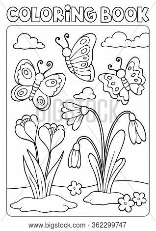 Coloring Book Spring Flowers And Butterflies - Eps10 Vector Picture Illustration.