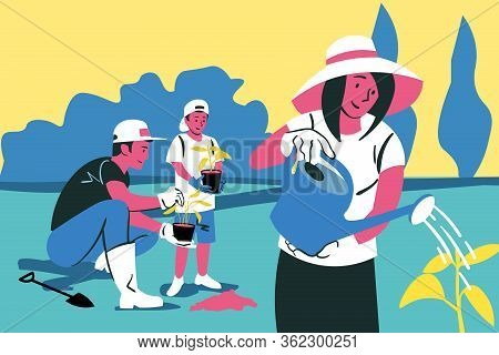 Family Teamwork, Gardening, Planting, Nature Concept. Young Happy Family Man And Woman With Child Fa