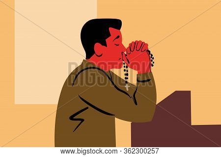 Praying, God, Religion, Church, Christianity, Request, Faith Concept. Young Sad Religious Man Christ