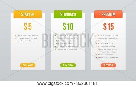 Price Plans. Comparison Table Pricing Grid, Checklist Price Chart Compare Products Tariff Plan, Busi