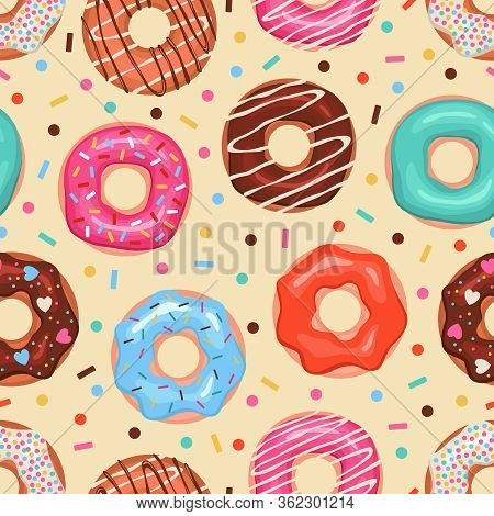 Donuts Seamless Pattern. Colored Doughnuts Assorted, American Sweet Food. Design For Fabric Print, B