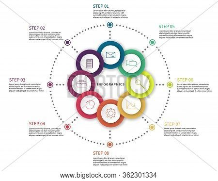 Workflow Chart. Process Diagram With Steps, Flow Chart Circle Scheme With Options And Icons Vector A