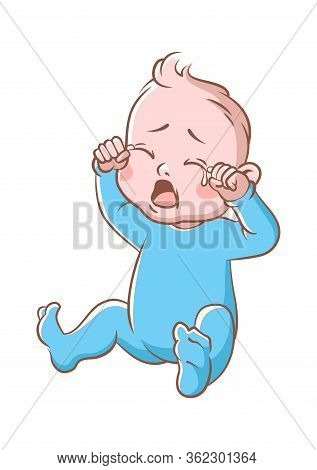Baby Boy Crying. Funny Toddler Expression Of Sitting Newborn Isolated Cartoon Vector Sad Cute Child