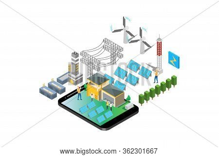 Modern Isometric Smart Electricity Solar Power Plant Illustration, Suitable For Diagrams, Infographi
