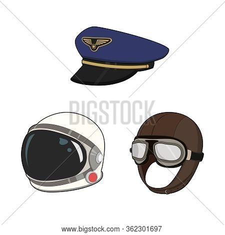 Air Force Hat Set. Pilot Cap And Vintage Hat, Astronaut Space Suit Helmet. Vector Graphic Illustrati
