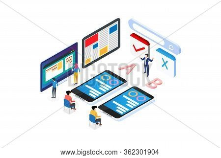 Modern Isometric Ab Testing Method Illustration, Web Banners, Suitable For Diagrams, Infographics, B
