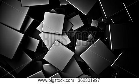 Displaced 3d Black Satinated Satinated  Cubes Background, 3d Render Illustration