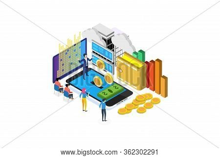Modern Isometric Online Banking Illustration, Web Banners, Suitable For Diagrams, Infographics, Book