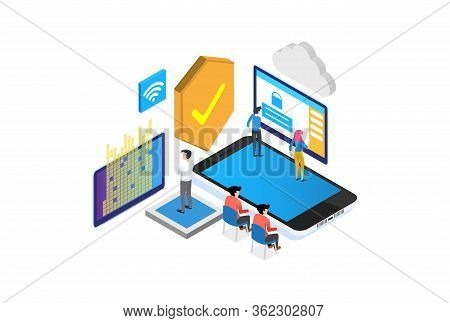 Modern Isometric Authentication Method Illustration, Web Banners, Suitable For Diagrams, Infographic