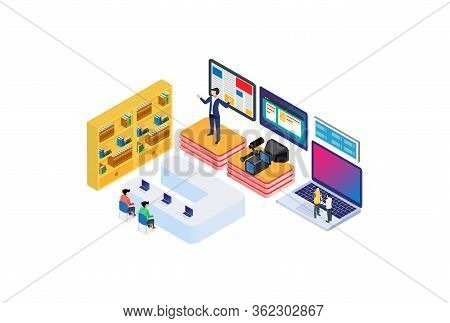 Modern Isometric Remote Teamwork Meeting Illustration, Web Banners, Suitable For Diagrams, Infograph
