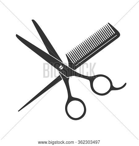 Scissors And Hairbrush Graphic Icon. Sign Crossed Scissors And Hairbrush Isolated On White Backgroun