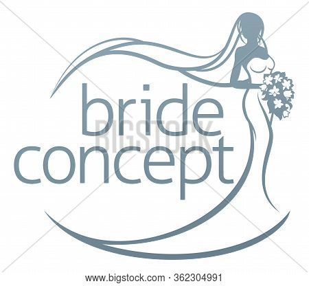 Abstract Wedding Design Concept Of Bride In Silhouette, In A White Bridal Dress Gown Holding A Flora