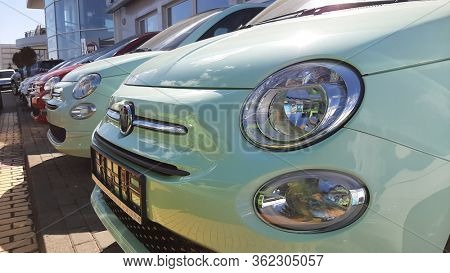 Gdansk, Poland - April 17, 2020: Fiat 500 car at  the Fiat showroom of Gdansk, Poland. Fiat 500 is small european car manufactured in Italy.