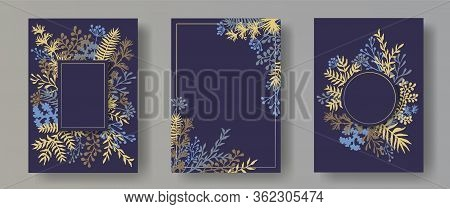 Tropical Herb Twigs, Tree Branches, Flowers Floral Invitation Cards Templates. Herbal Corners Creati