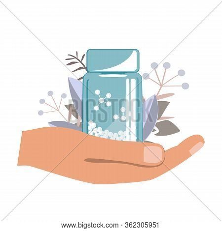 Hand With Bottle With Gomeophatic Granules, Homeopathy Logo. Homeopathic And Herbal Pills, Vector Il