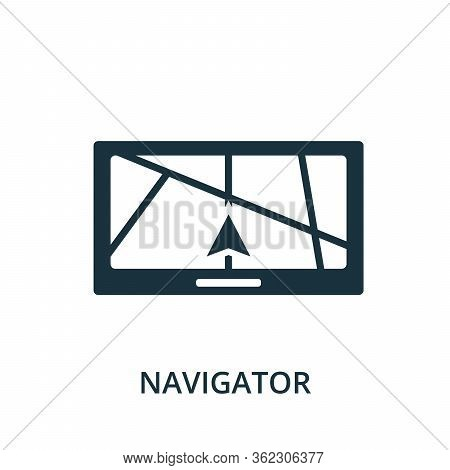 Navigator Icon. Simple Element From Navigation Collection. Filled Navigator Icon For Templates, Info