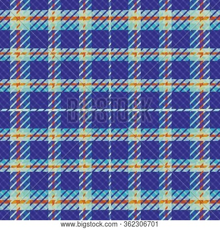 Plaid Seamless Vector Pattern Background. Modern Tartan Style With Twill Effect Blue Backdrop. Repea