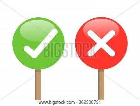 True Or False Sign Button Isolated On White Background. Red Cross And Green Check Mark, Confirm Or D