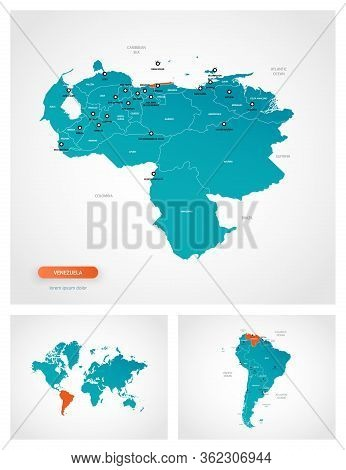 Editable Template Of Map Of Venezuela With Marks. Venezuela On World Map And On South America Map.