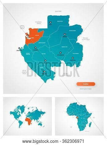 Editable Template Of Map Of Gabon With Marks. Gabon On World Map And On Africa Map.