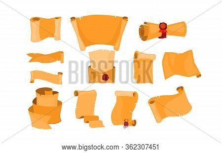 Old Paper Scrolls Set. Ancient Parchment, Rolled Document With Ribbon, Seal With Ribbon. Vector Illu