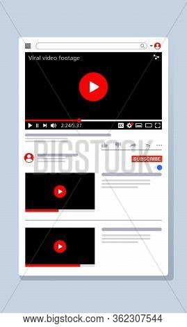 Vector Illustration Of A Video Viewer Web Page. Suitable For Promotion Of The Latest Video Channels,