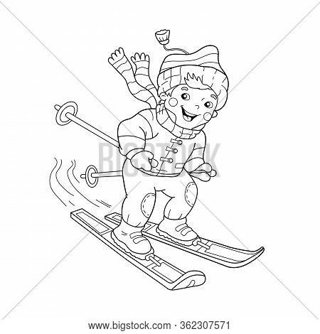 Coloring Page Outline Of Cartoon Boy Riding On Skis. Winter Sports. Coloring Book For Kids