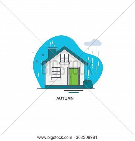 Linear Flat Illustration Of A Private House. Autumn Time Logo Concept
