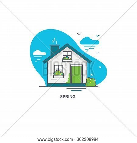 Linear Flat Illustration Of A Private House. Spring Time Logo Concept