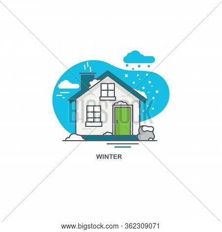 Linear Flat Illustration Of A Private House. Winter Time Logo Concept