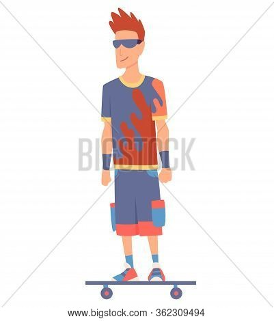 Young Handsome Man Riding An Skateboard, Modern Outdoor Transport, Standing Pose. People Riding Elec