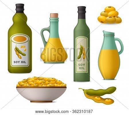 Soy Oil And Soy Beans Icons Set