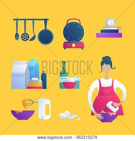 Home Cooking Isolated Icons Set. Girl In Apron With Blender, Waffle Iron, Food Ingredients, Kitchen