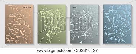 Biotechnology And Neuroscience Vector Covers With Neuron Cells Structure. Crossed Curve Lines Blockc