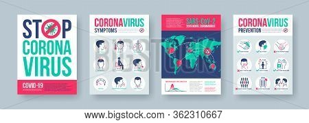 Coronavirus Poster Set With Infographics Elements. Novel Coronavirus 2019-ncov Banners. Concept Of D