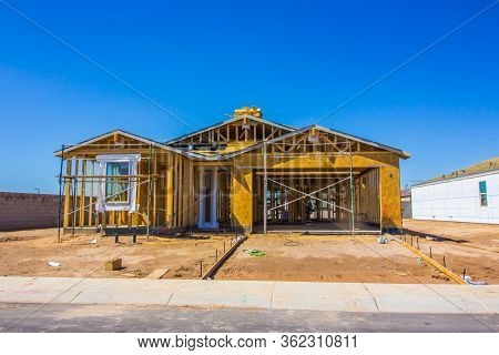 Brand New One Level Home Under Construction In Framing Stage
