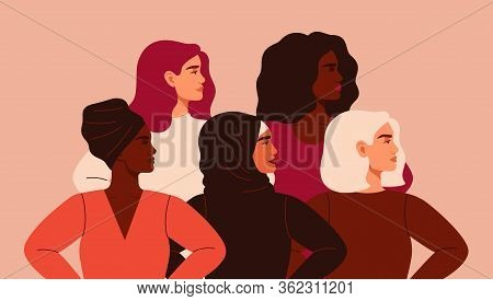 Five Women Of Different Nationalities And Cultures Standing Together. Friendship Poster, The Union O