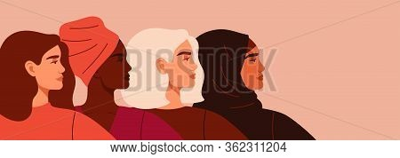 Portraits Of Four Women Of Different Nationalities And Cultures Standing Together. The Concept Of Ge