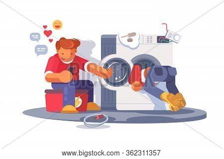 Washing Machine Repair Vector Illustration. Repairmen Overhauling