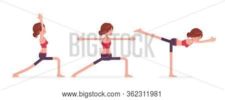 Young Sporty Yogi Woman Practicing Yoga, Doing Standing Poses, Warrior One, Two, Three Variation, Vi