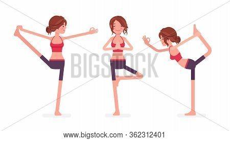 Young Yogi Woman Practicing Yoga, Doing Utthita Hasta Padangustasana, Extended Hand To Big Toe Exerc