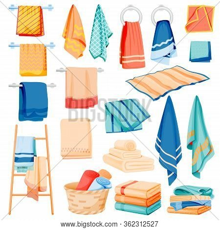 Bathroom And Kitchen Cotton Towels Collection. Vector Flat Cartoon Illustration Of Bath And Spa Toil