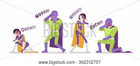Male, Female Super Hero In Bright Costume, Defeat Pose. Strong Brave Warriors Loosing In Contest, Ba