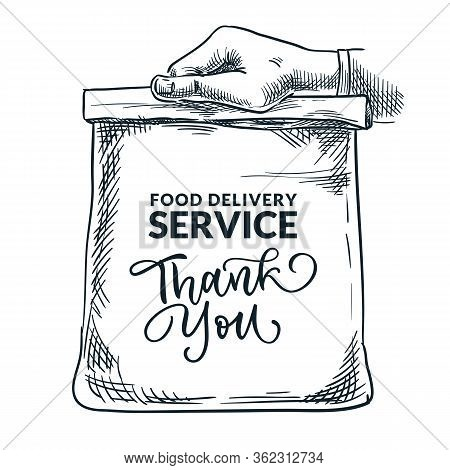 Human Hand Holding Lunch Paper Bag. Food Delivery Service Concept. Banner, Poster Design Template Wi