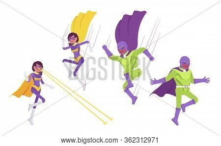 Male And Female Super Hero In Attacks Or Defense Pose. People With Superhuman Powers, Heroic Strong