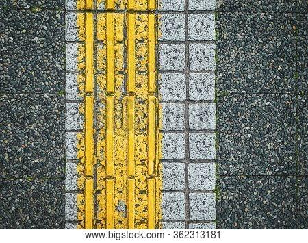 Japanese Sidewalk Interfaces For The Blind, Sidewalk Interfacess In Between Train Stations In Japan.