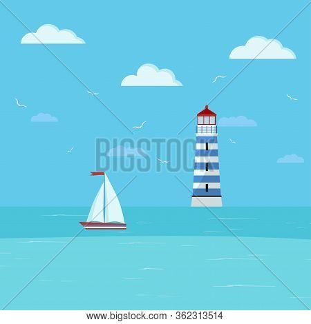 Lighthouse And Sailboat On Seascape. Seaside With Blue Water, Clouds, Ship, Lighthouse Building. Vec