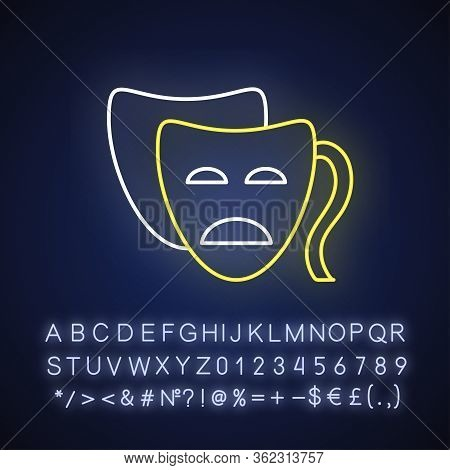 Drama Neon Light Icon. Outer Glowing Effect. Sign With Alphabet, Numbers And Symbols. Serious Movie